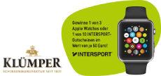 Gewinnspiel Klümper: 3 x eine Apple Watch oder 10 x 50 € INTERSPORT-Gutscheine