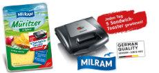 Milram: täglich einen von 5 Severin Sandwich-Toastern gewinnen