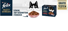 Purina Felix Tasty Shreds gratis testen