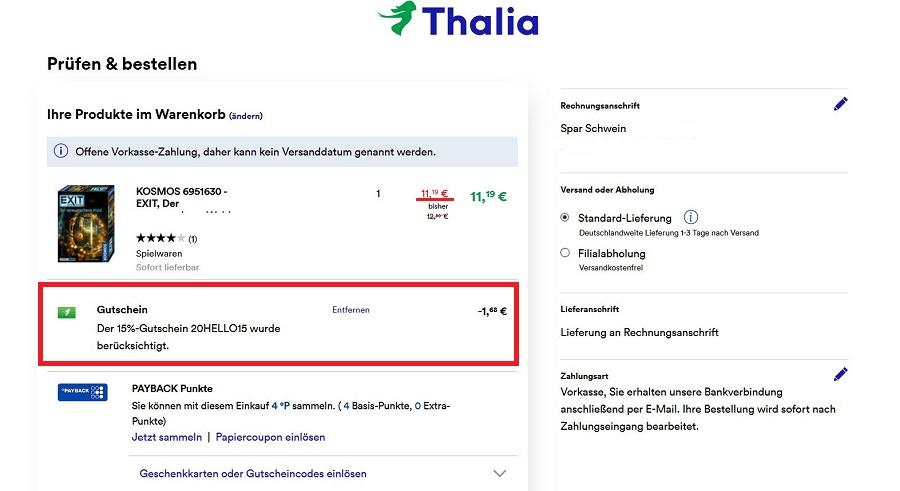 Thalia Versandkostenfrei Gutschein